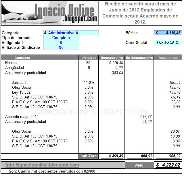 recibo sueldo comercio junio 2012