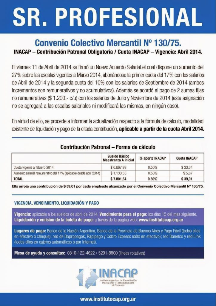 INACAP nueva valor de la contribución desde Abril 2014
