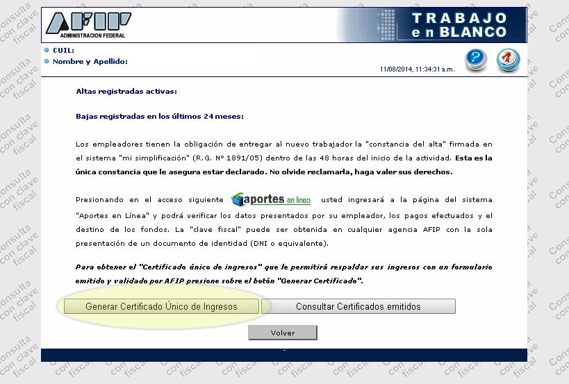Trabajo en blanco AFIP generar certificado unico de ingresos AFIP