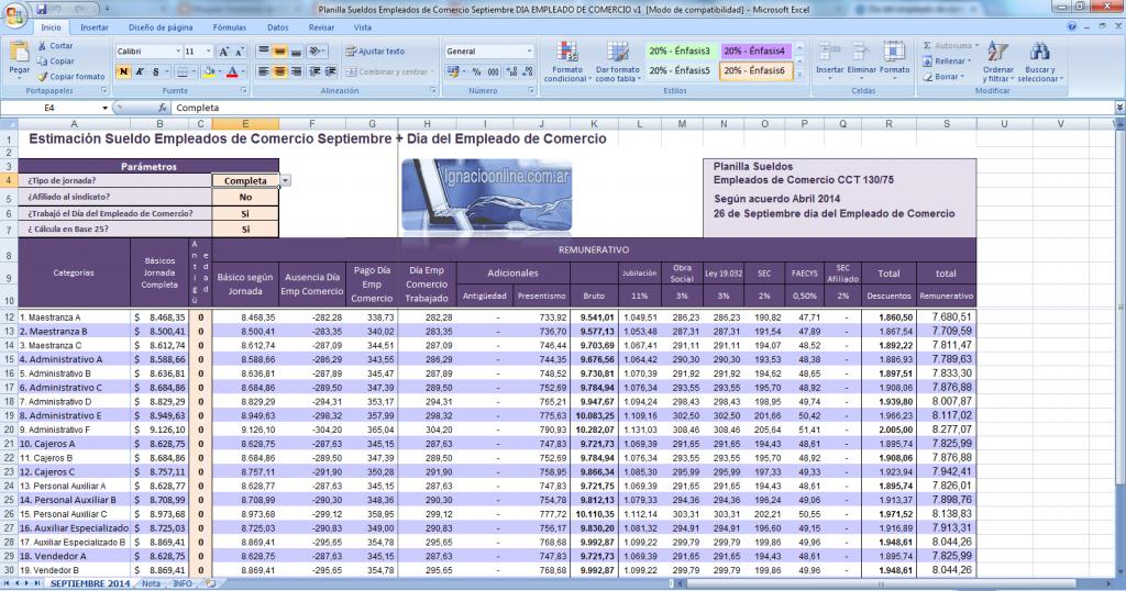 Planilla excel para estimar el Día del Empleado de Comercio 2014