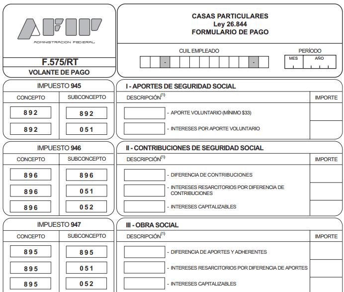 nuevo formulario 575 rt servicio dom stico