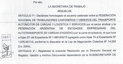 Homologación acuerdo camioneros 2015