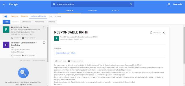 """Google habilitó la función """"Empleos"""" para buscar trabajo en Argentina"""